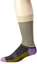 Happy Socks Men's Half Stripe Combed Cotton 1/2 Terry Crew Socks