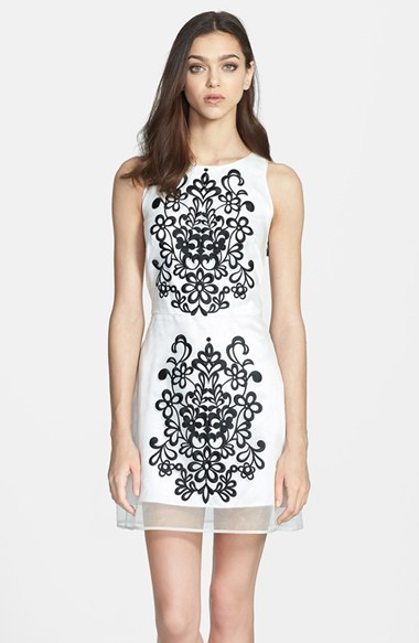 Milly Embroidered Silk Shift Dress