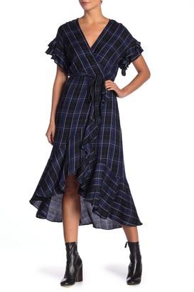 Max Studio Plaid Ruffled Wrap Dress