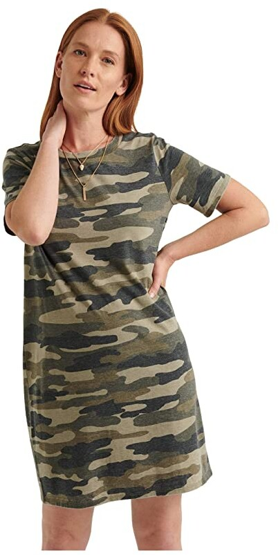 Lucky Brand Short Sleeve Crew Neck Camo Summer Tee Dress (Green Multi) Women's Clothing