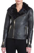 Badgley Mischka Irina Fur Collar Zipped Leather Jacket