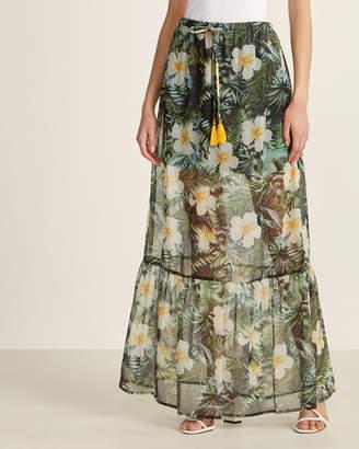 Gaudi' Gaudi Jeans Tropical Print Sheer Maxi Skirt