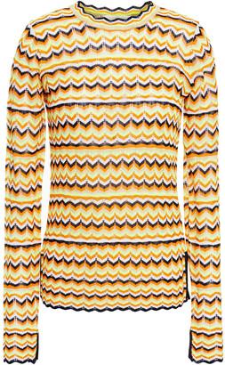 Victoria Victoria Beckham Scalloped-trimmed Crochet-knit Sweater