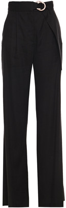 Veronica Beard Woode Belted Linen-blend Wide-leg Pants