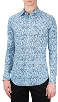 Bugatchi Men's Shaped Fit Print Sport Shirt