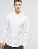 Boss Orange Shirt With Button Down In Slim Fit White