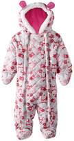 Pink Platinum Platinum Baby Girls Owl Microfleece Quilted Puffer Snow Pram Suit Bunting