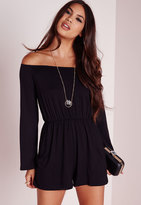 Missguided Jersey Bardot Romper Black