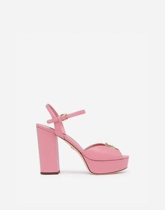Dolce & Gabbana Calfskin Sandals With Wedge And Logo