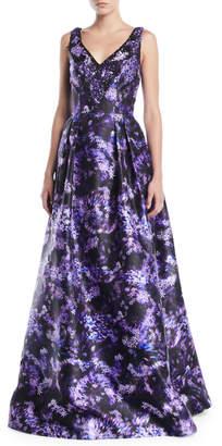 Theia Lilac-Print Sleeveless Ball Gown w/ Pockets