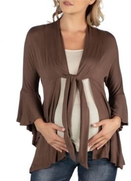 24Seven Comfort Apparel Three Quarter Tie Front Ruffle Maternity Cardigan