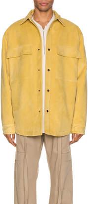 Fear Of God Suede Shirt Jacket in Garden Glove Yellow | FWRD