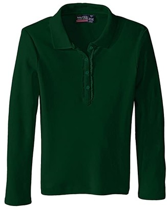 Nautica Long Sleeve Polo with Ruffle Placket (Big Kids) (Forest Green) Girl's Long Sleeve Pullover
