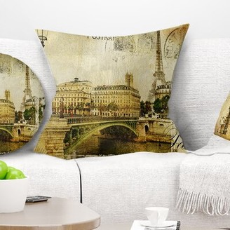 """East Urban Home Abstract Cityscape Paris Pillow East Urban Home Size: 16"""" x 16"""", Product Type: Throw Pillow"""