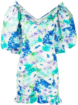 Alessandra Rich Floral Print Ruched Dress