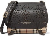 Burberry Checked Textured And Perforated Leather Shoulder Bag - Black