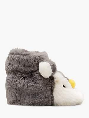 Boden Mini Penguin Slippers, Shale Grey