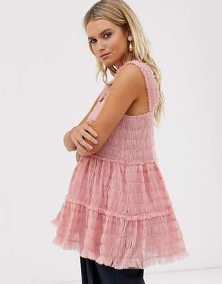 Sister Jane cami top in shirred tulle-Pink