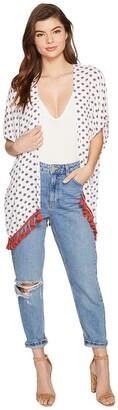 Jack by BB Dakota Women's Clemens saharan Geo Printed Vest with Cotton Fringe Trim
