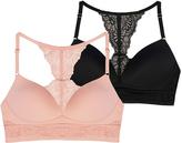 Danskin Black & Pink Clay Lace-Accent Longline Bra Set