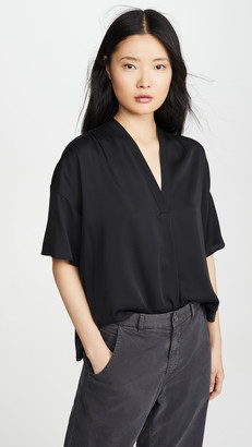 Vince Shirred V Neck Blouse
