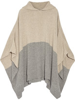 Chinti and Parker Hooded Color-block Cashmere Poncho - Mushroom