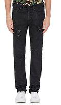 Off-White Men's Appliquéd Distressed Jeans-BLACK