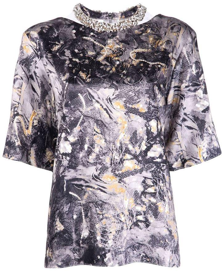 Thakoon jeweled neck blouse