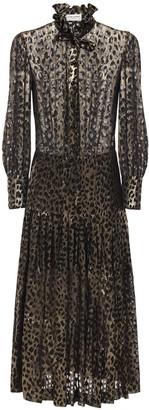 Saint Laurent Leopard Devore Georgette Shirt Dress