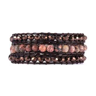 Victoria Emerson Bronze Crystals with Red Leopard Stone Beads on Dark