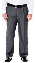 Haggar Big & Tall Cool 18 Heather Solid Pants - Classic Fit, Pleat Front, Hidden Expandable Waistband