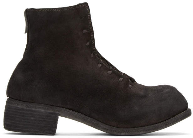 Guidi Black Suede Lace-Up Boots