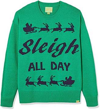 Ugly Fair Isle Unisex Sleigh All Day Crew Neck Long Sleeve Sweater XS Green/Navy