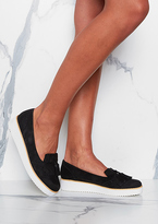 Missy Empire Carly Black White Sole Tassel Loafers