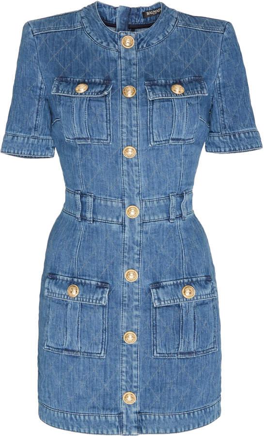 Balmain Pocketed Contrast-Stitched Denim Dress