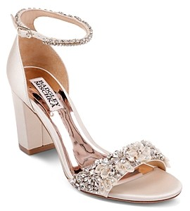 Badgley Mischka Women's Finesse Embellished Block Heel Sandals