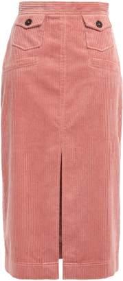 ALEXACHUNG Split-front Cotton-blend Corduroy Midi Skirt