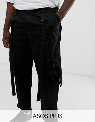 Asos Design DESIGN Plus cargo trousers in black with strapping