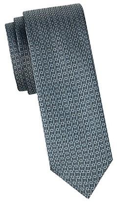 HUGO BOSS Geometric-Print Skinny Silk Tie