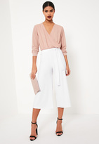 Missguided White Tie Waist Ribbed Culottes
