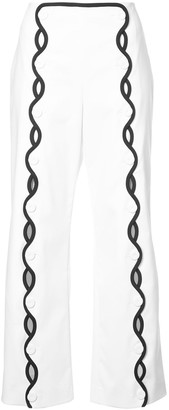 Sara Battaglia Contrast-Trim Wave Trousers