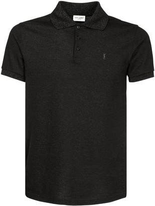 Saint Laurent Logo Embroidery Cotton Polo Shirt
