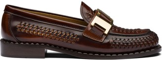 Prada Buckled Woven Loafers
