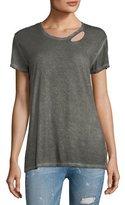 RtA Denim Nicola Short-Sleeve Distressed Cutout T-Shirt