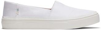 Toms White Textured Woven Women's Parker Slip-Ons