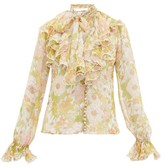 Zimmermann Super Eight Ruffled Pussy-bow Silk Blouse - Womens - Pink Multi