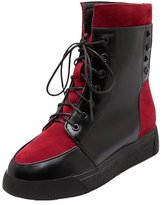 ENMAYER Women's PU Closed Round-Toe Flat PUnk style Boots 9 B(M) US