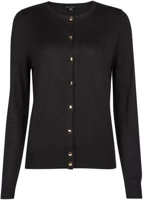 Dorothy Perkins Womens Black Gold Button Cardigan, Black