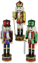 Asstd National Brand 14 Wooden Sequin Jacket Nutcracker- Set of 3
