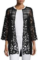 Escada Corded-Lace Open-Front Cardigan, Black